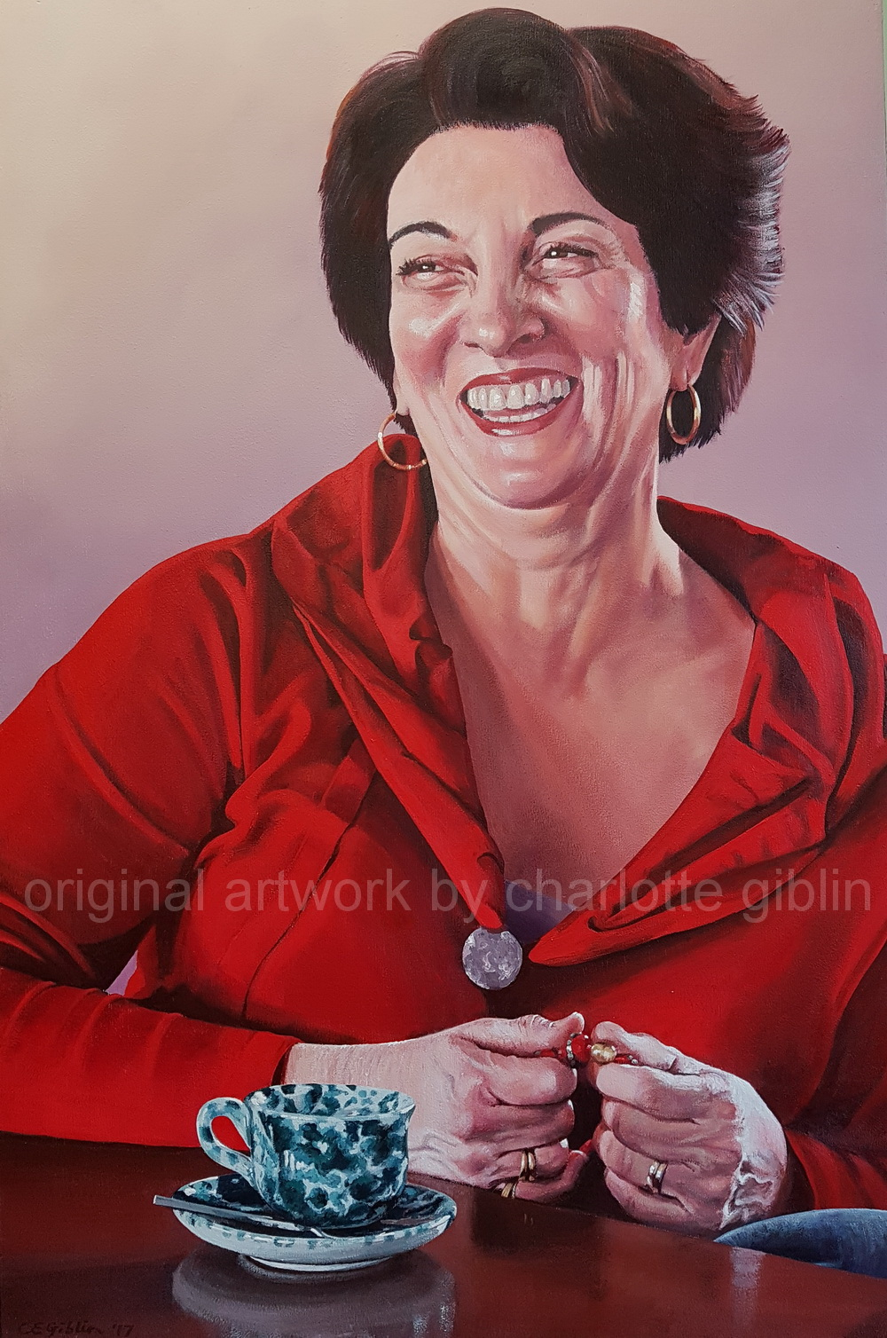 A Perfect Measure of Margherita 900 x 600mm acrylic on ply frame $4,990 from my 2018 portrait exhibition 'What Matters Most' at Bread & Butter Gallery, Whitianga