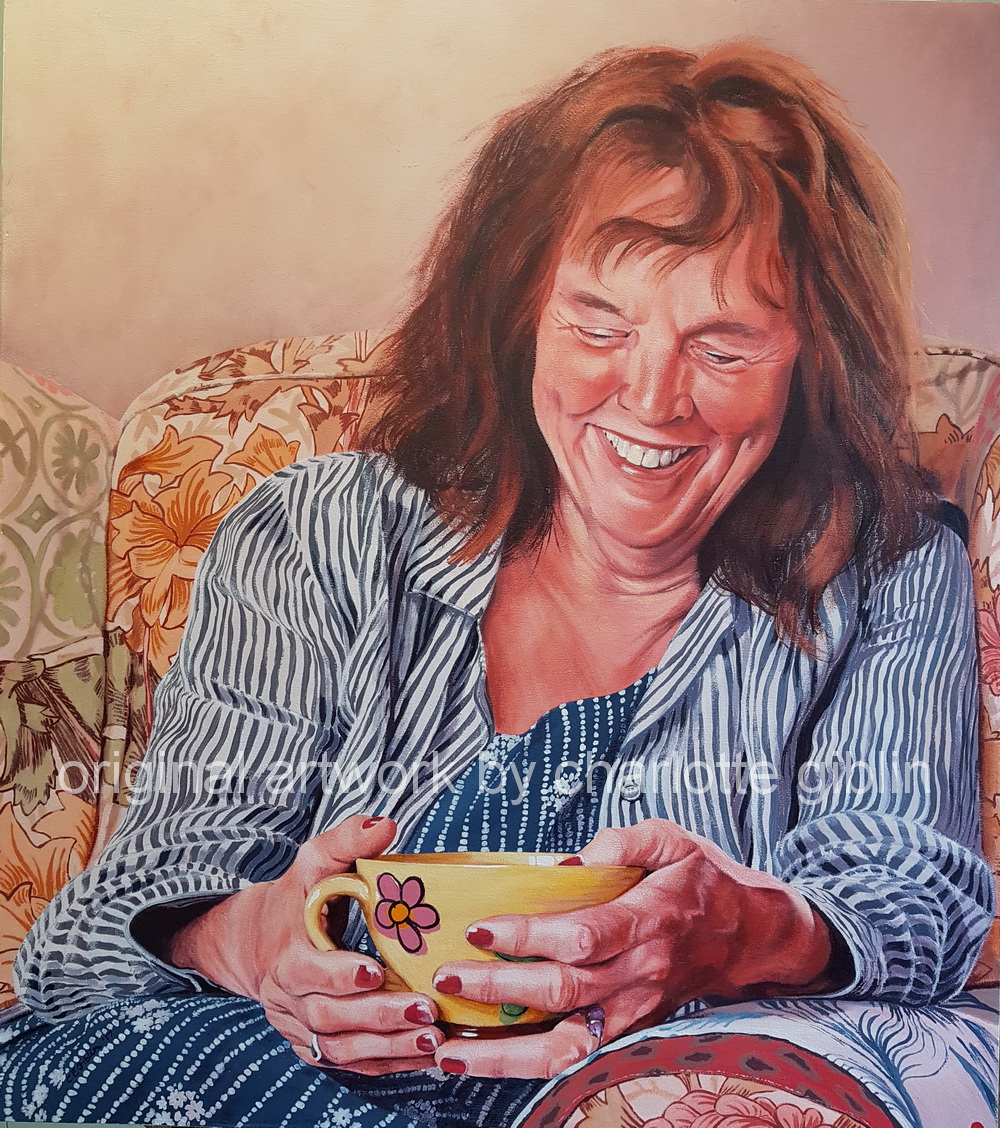 Fireside with Jen 900 x 800mm acrylic on ply frame $4,990 from my 2018 portrait exhibition 'What Matters Most' at Bread & Butter Gallery, Whitianga