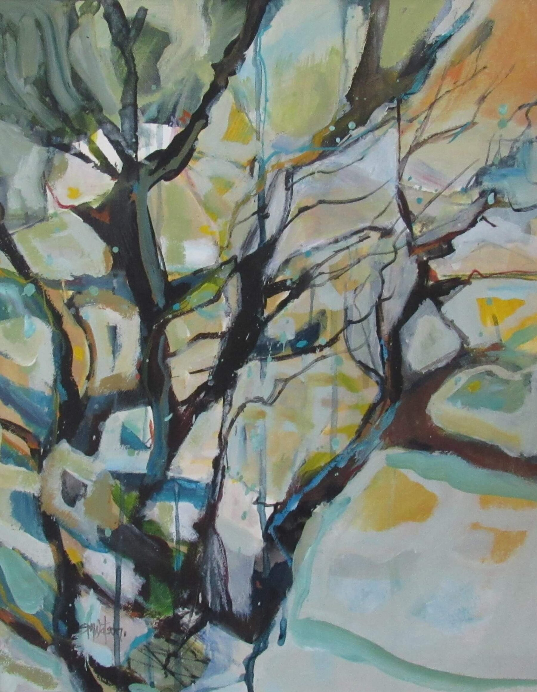 Coastal Trees Acrylic painting, white frame Size 500 mm  wide x 610 mm high $800 free shipping in NZ
