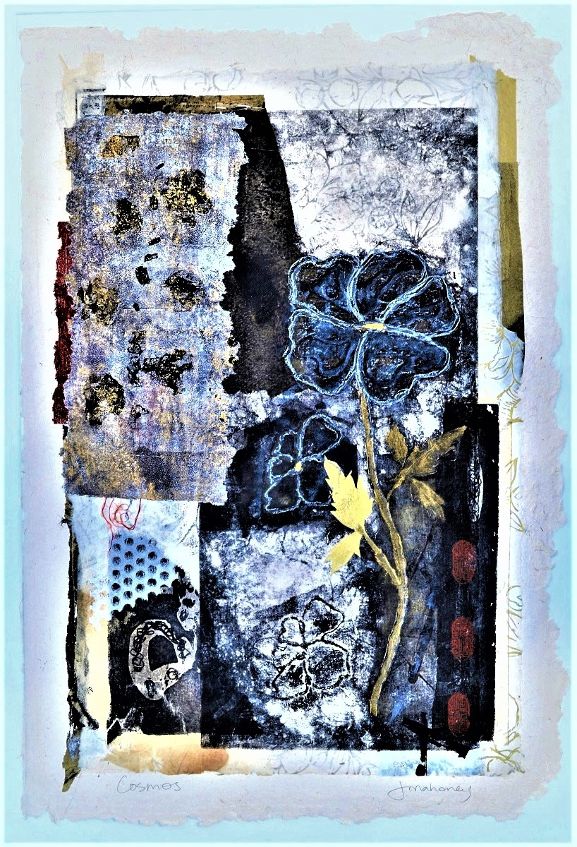 <strong>Cosmos<strong> Mixed media print & collage Framed