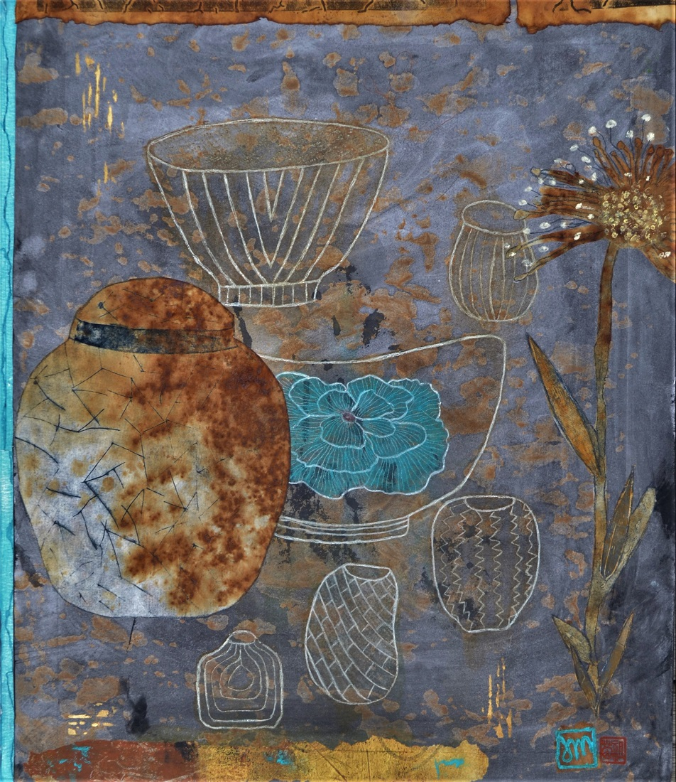 Collection with a Ginger Jar Mixed Media & print Framed   SOLD