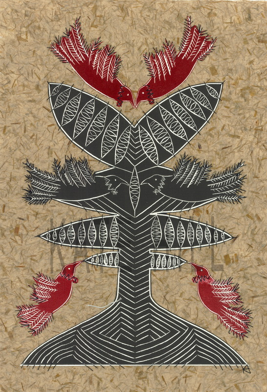 Future Fruiting Woodblock print stitched on to flax paper.  620 x 850 mm.  Framed in black $880.  Unframed $680
