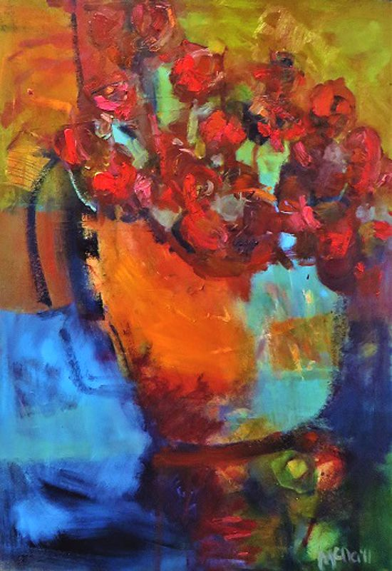 Flowers on Her Birthday Oil on Board 60 cm x 50 cm Price: $1800.00
