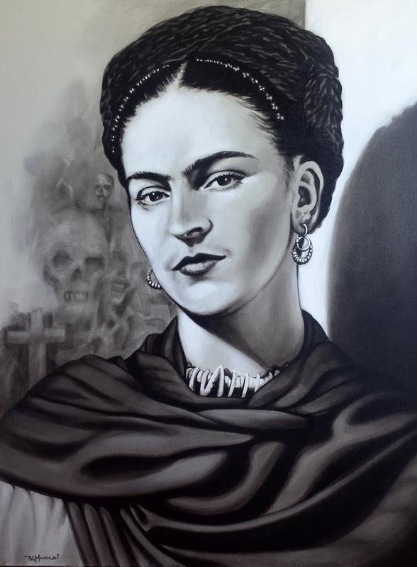 Frida Kahlo  800mm x1050mm acrylic on canvas framed black frame $800