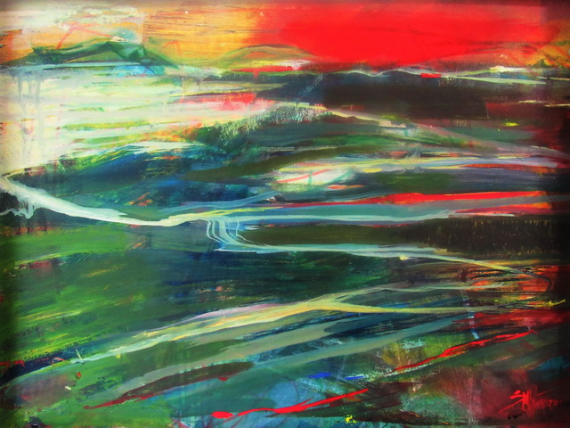 """""""Hinterland 2020"""" Acrylic, wide white frame Memories of a brilliant sunset. For Sale $700 free shipping in NZ"""