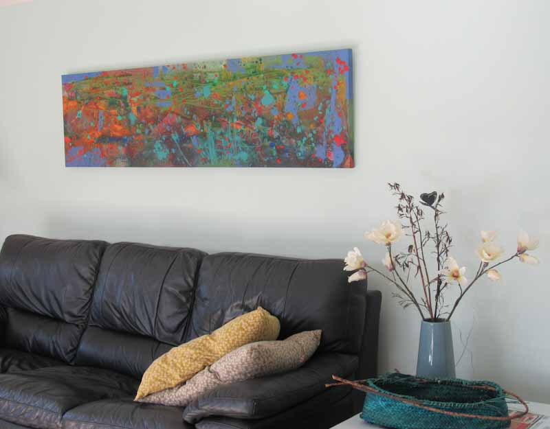 Karangahake Gorge Acrylic painting on canvas ready to hang Size 500 mm x 1500 mm free shipping in NZ For sale $6000