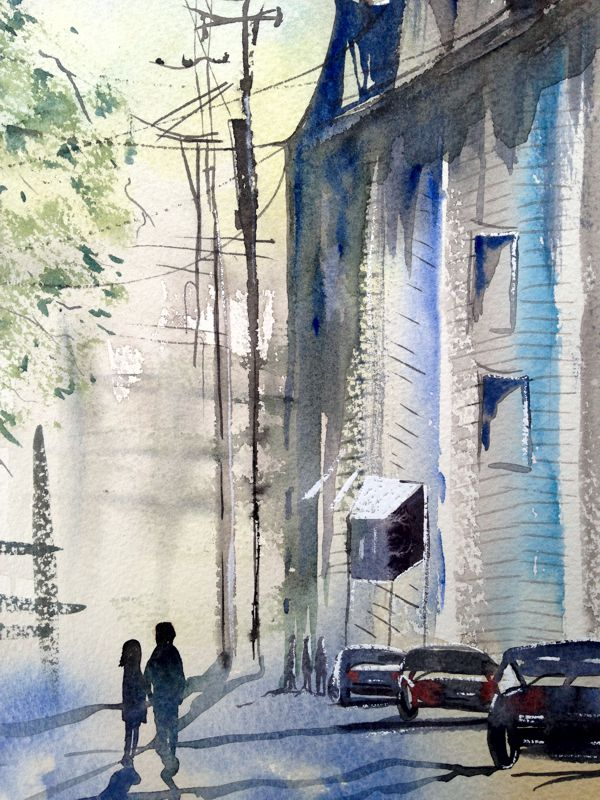 Crossing The Street watercolour