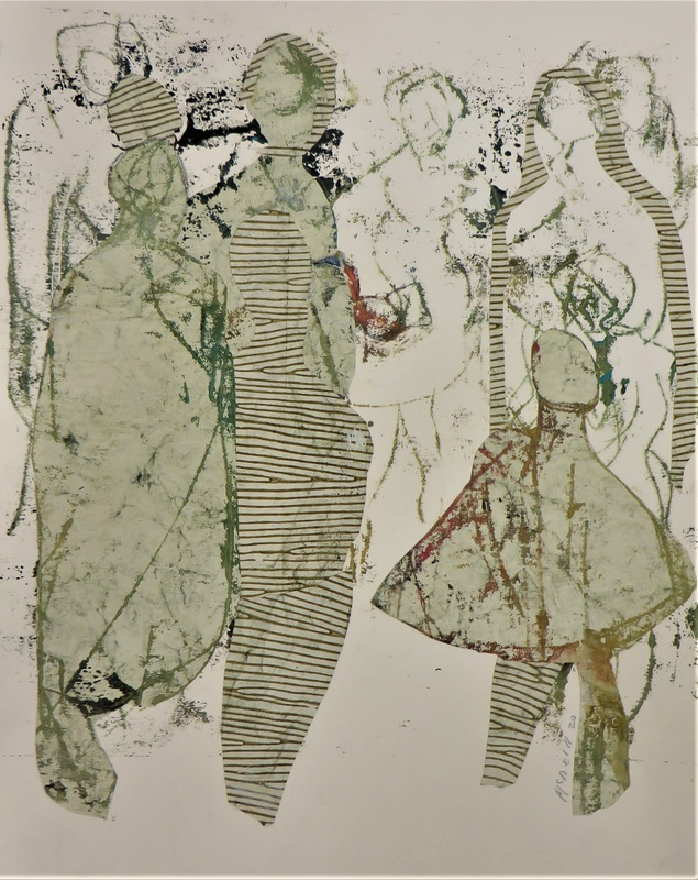 Meeting of Mothers Mixed Media over Monoprint 50 x 40 cm $ 850.00