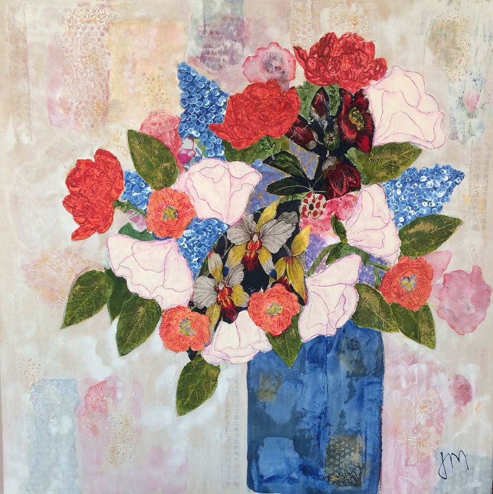A Mixed Bunch With Lisianthus Mixed media on board 800mm x 800mm  Framed SOLD
