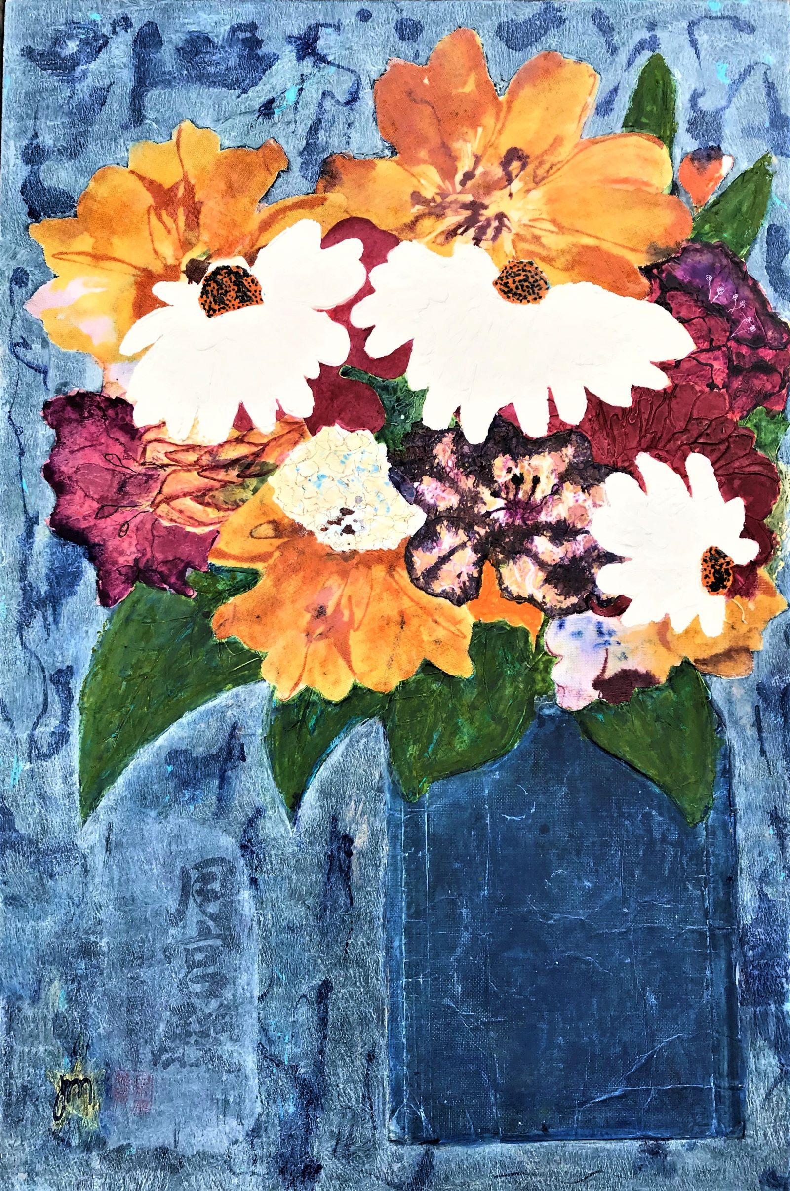 A Mixed Bunch With Lilies Mixed media on board Framed - 915mm H x 680mm W 950.00