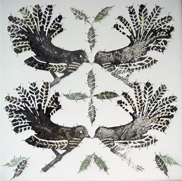 Piwakawaka Party Time Stitched Woodblock Print     SOLD