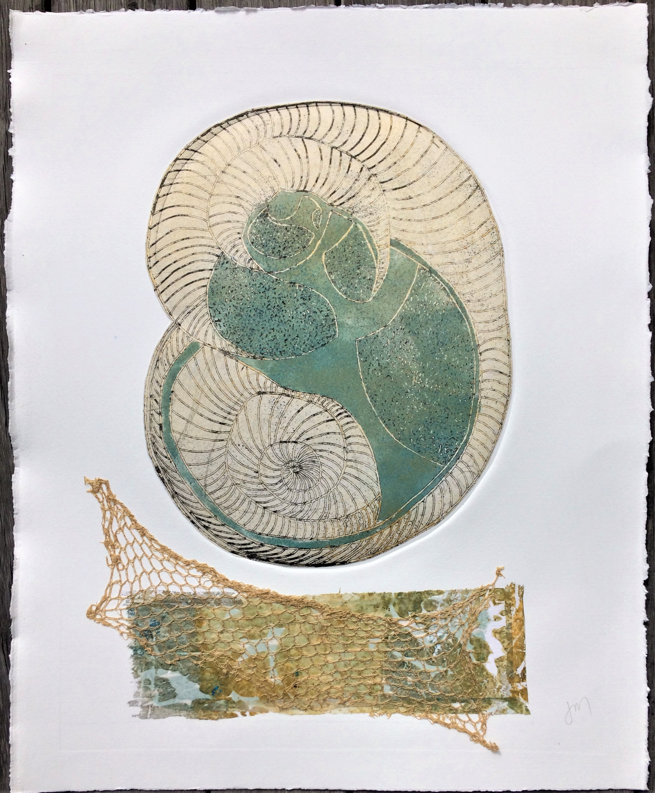 Seabed & Foreshore Etching & Collage Framed - in a white frame 695mm H x 610mm W 850.00 SOLD