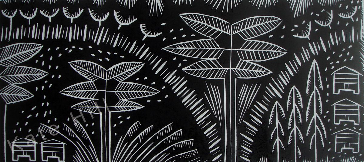 The Way Home  Woodblock print.  Black frame.  620 mm x 850 mm $575