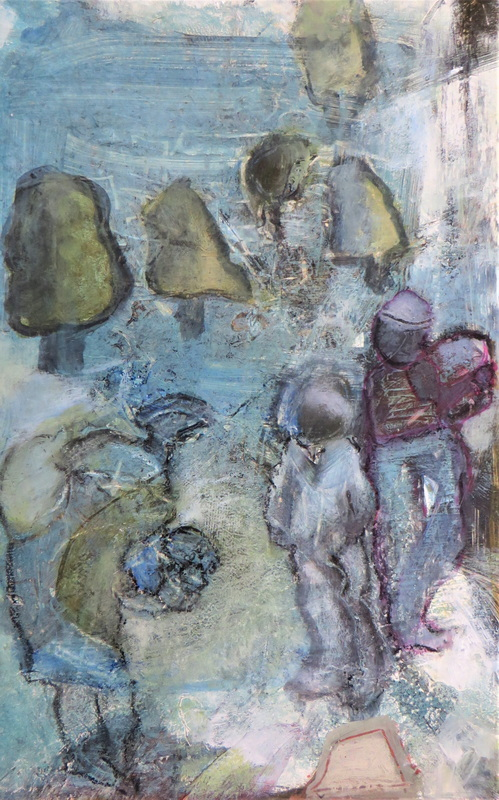 The Gatherers Mixed Media Size 40 x 30 cm Framed and Glazed