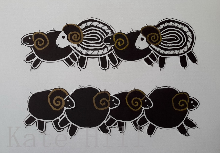 The Sheep of Insomnia Stitched Woodblock Print