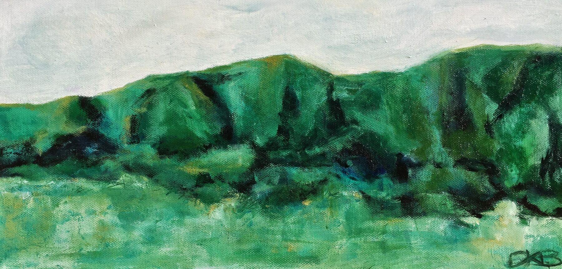 Untitled Landscape  Acrylic on Canvas 200mm x 410mm   $190
