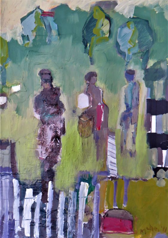 Visiting Neighbours Mixed media – SOLD –