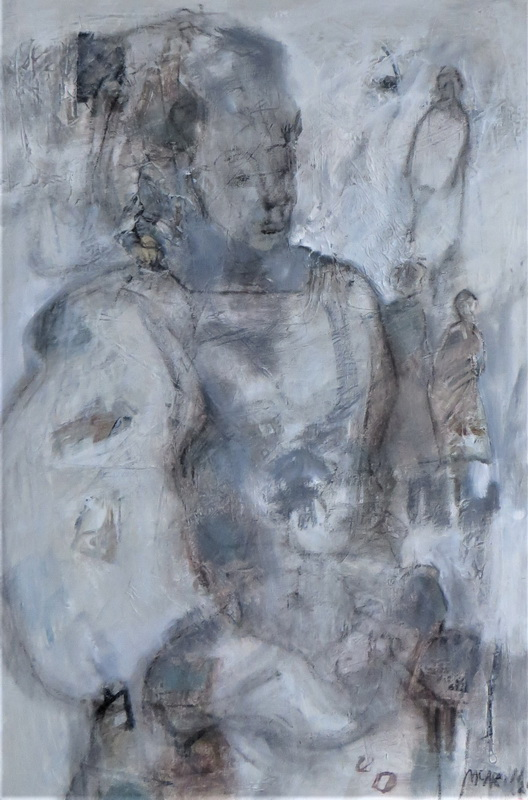 Watching from her Window Mixed Media on Canvas 90 x 60 cm