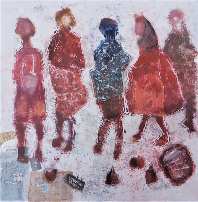 Young Travellers Mixed Media over Monoprint 50 x 50 cm $ 850.00