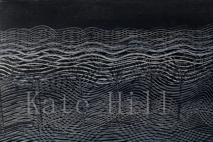 Awa  Acrylic on Board  1000 x 600 mm Second image Whariki above on reverse Designed to be propped rather than hung