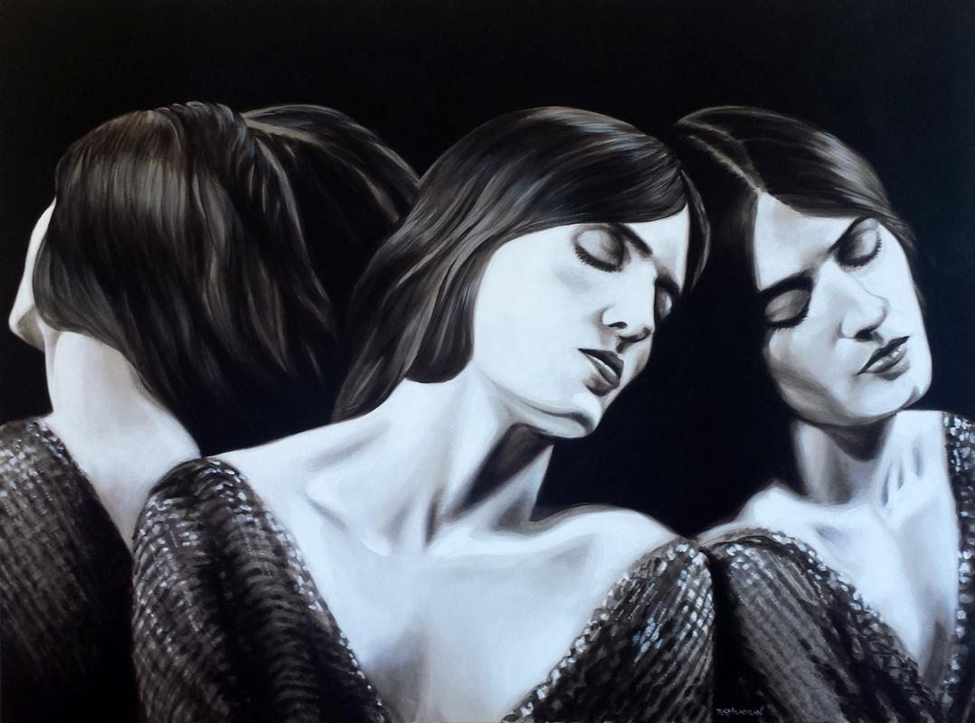 Florence 800mm x 1050mm acrylic on canvas framed black frame $800