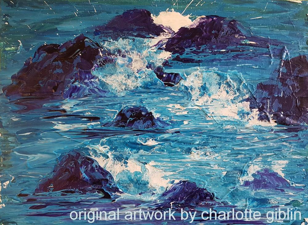 Rough seas (2020) acrylic on canvas 300 x 400mm
