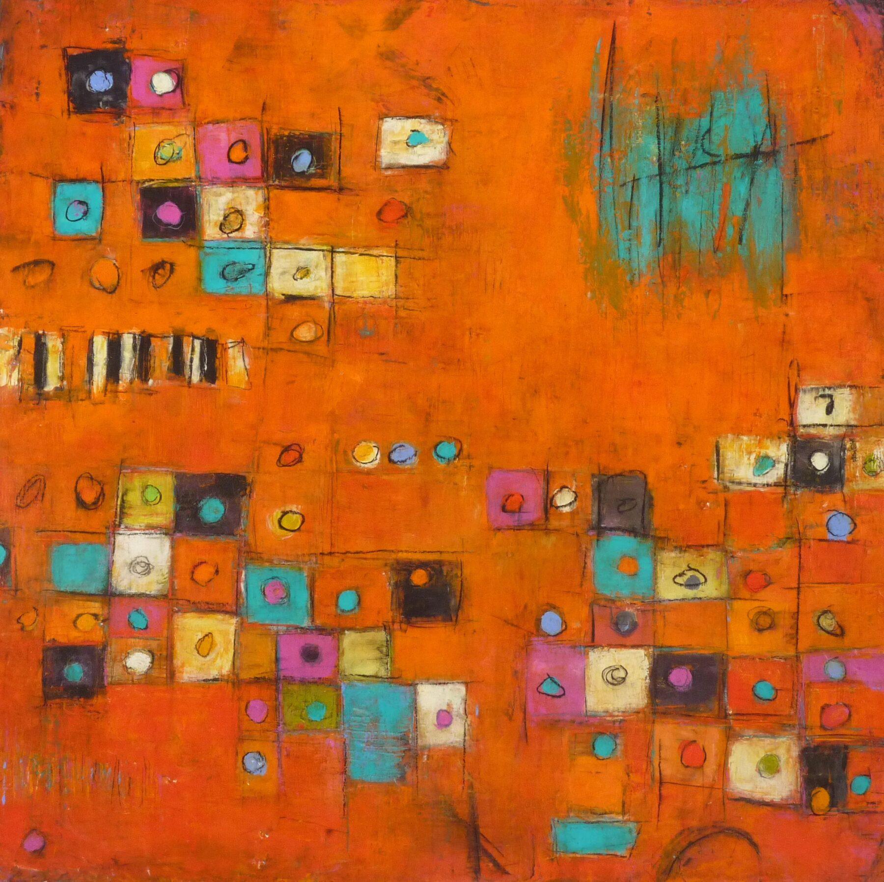 Inner City  76 x76 cm Acrylic/Mixed Media on Canvas $1500