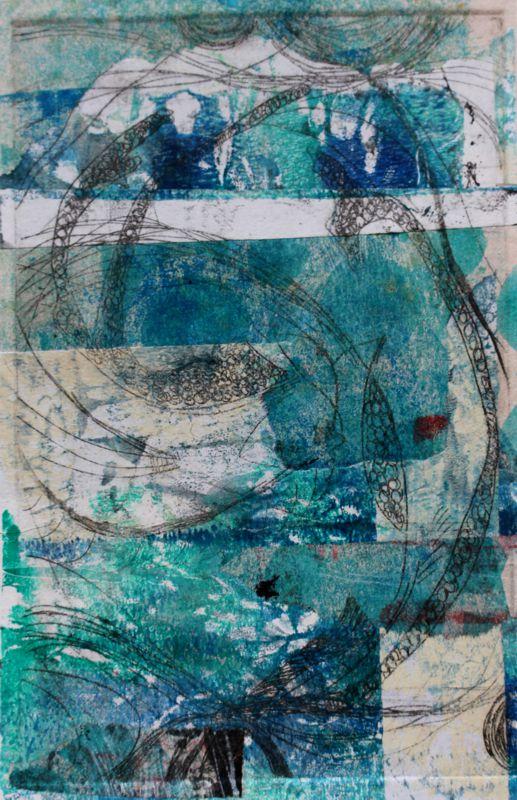 Deep blue Original art print 1/1 300x400 framed $ 420