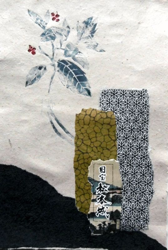 Hint of Japan Colograph - mixed media Kay de Blaauw Size 33 x 44 cm