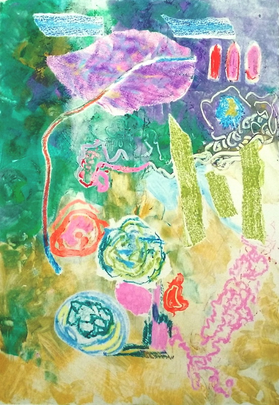 Moxie 1/1 Watercolour monoprint 44w x 54h Framed $380