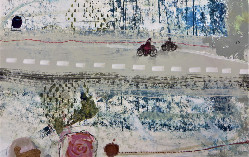 <strong>Riding Through the Pines</strong> Mixed media with Collagraph 50 x 50 cm 680.00