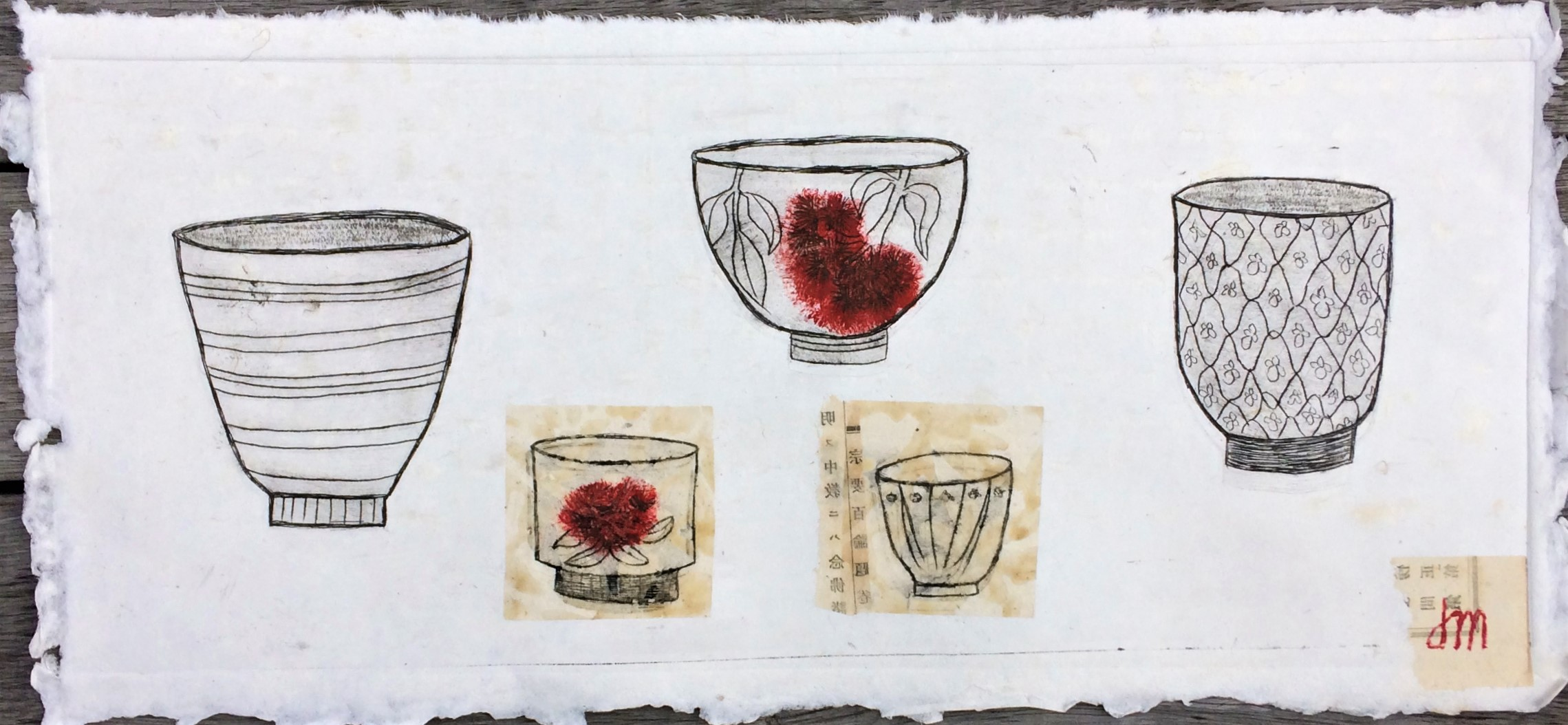 Pohutukawa Bowls Dry point & Collage on Handmade Paper Framed