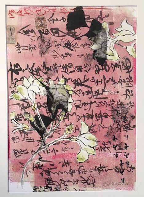 GINGKO BILOBA 69 x 43 cm Framed Mixed media print.Framed $475
