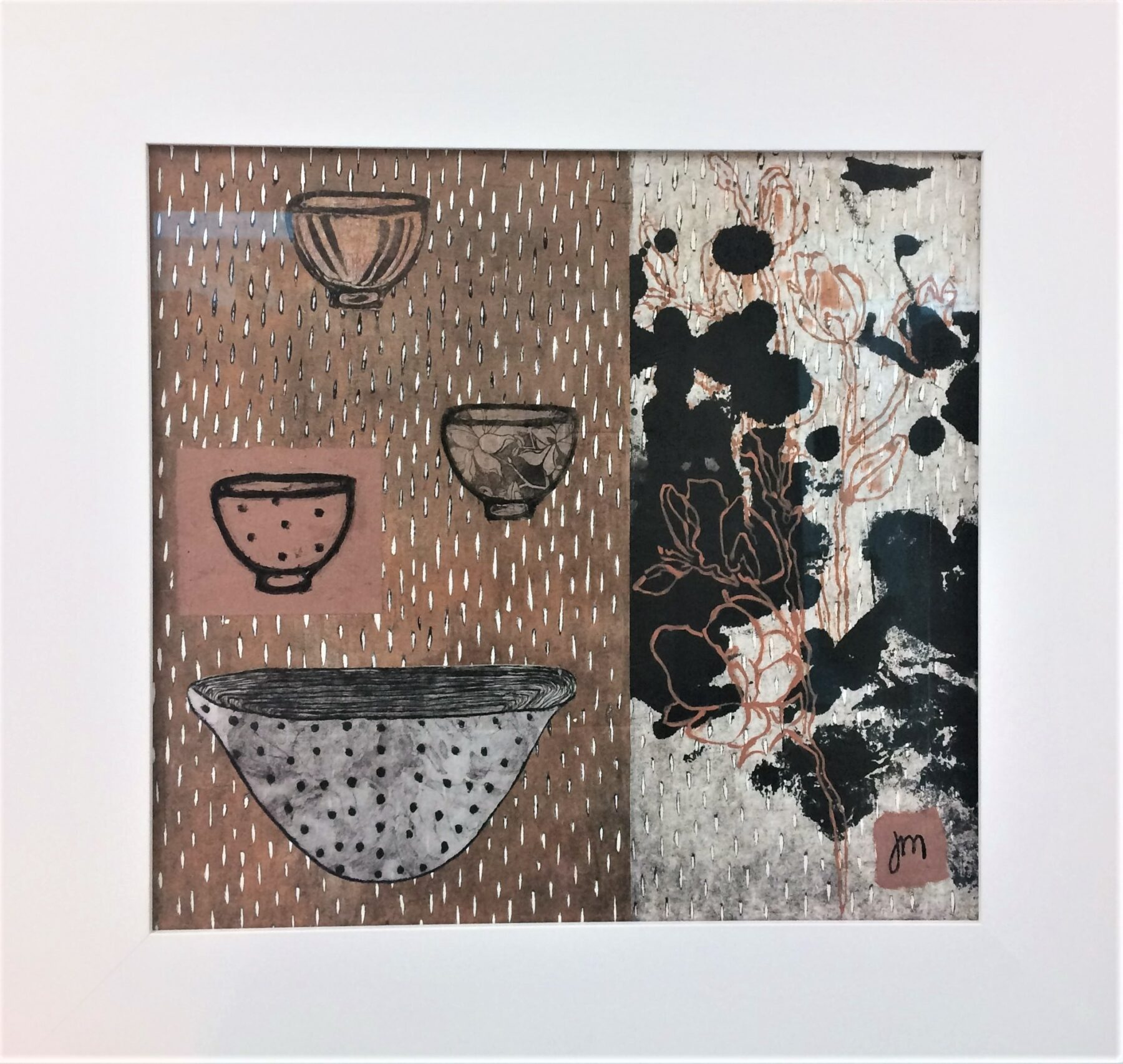 Set For Three Printwork - Woodcut, Collagraph & Chine Colle Framed - 645mm H x 675mm W