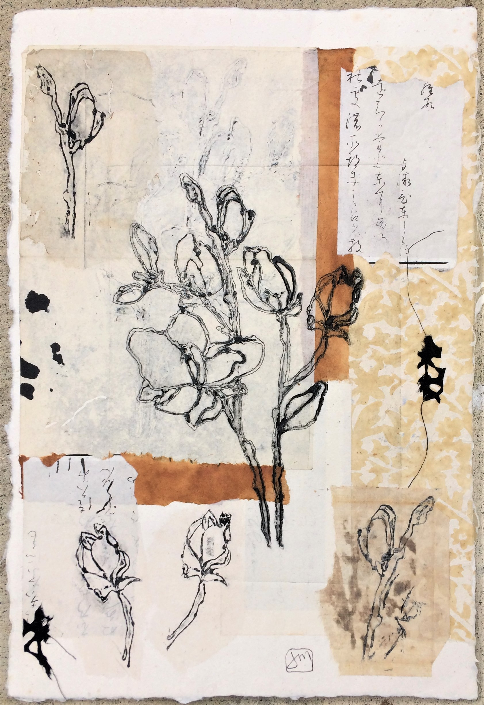 Bud Burst Collagraph, Collage & Chine Colle