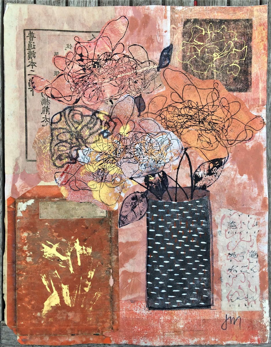 The Black Spotted Vase Mixed media printwork