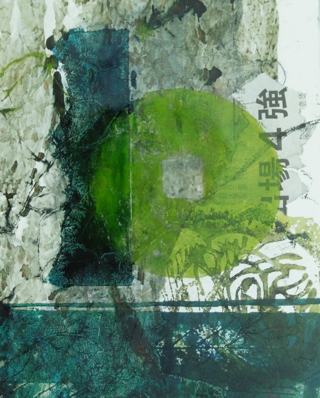 Spring Green Print-Collograph, Black Frame 33 x 44 cm $295