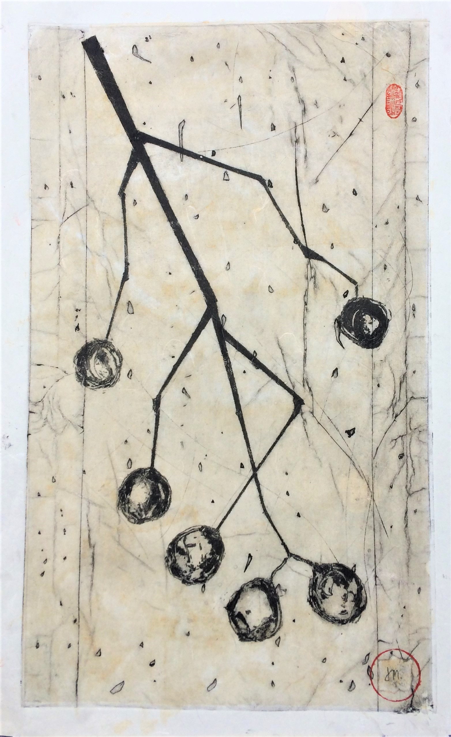 Cherries Intaglio and Collagraph on paper with silk threads. Framed - with a wide white mat and black slimbox frame