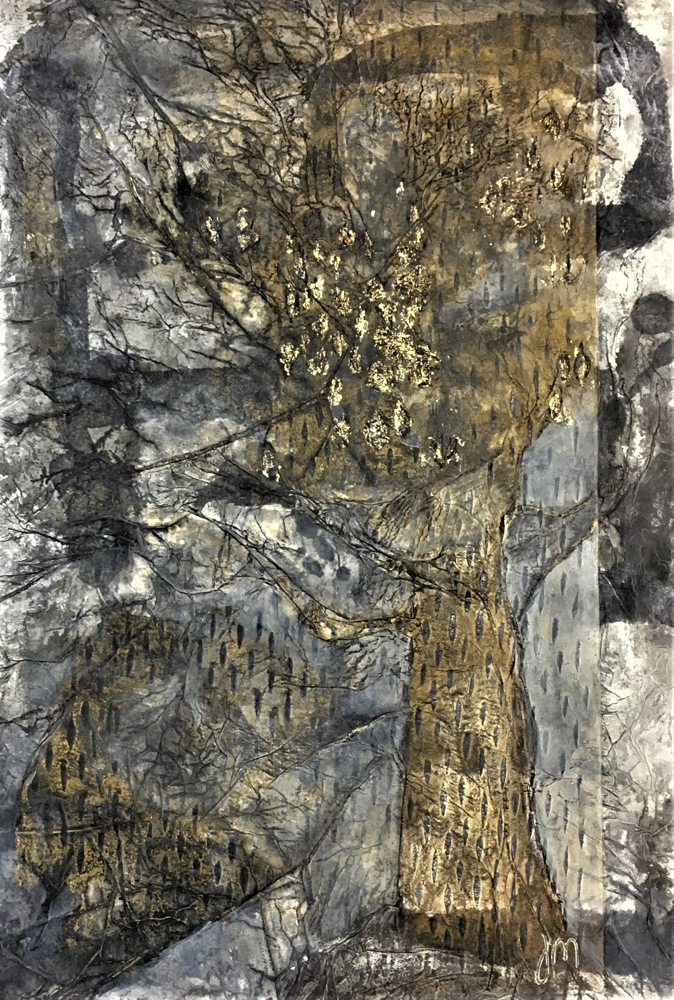 The Wise Old tree Mixed print work - woodcut, chine colle on paper Framed - 810mm h x 585mm w