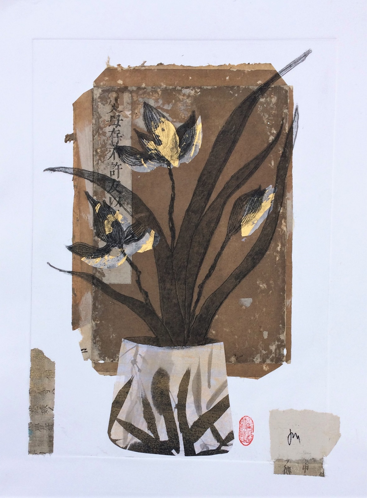 'Orchid No3' Collagraph print, Chine colle and collage. Framed