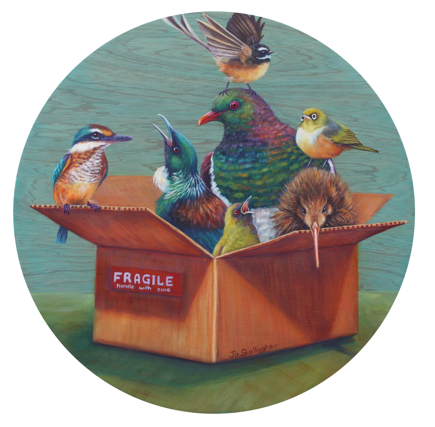 Fragile....handle with care acrylic on round canvas  SOLD