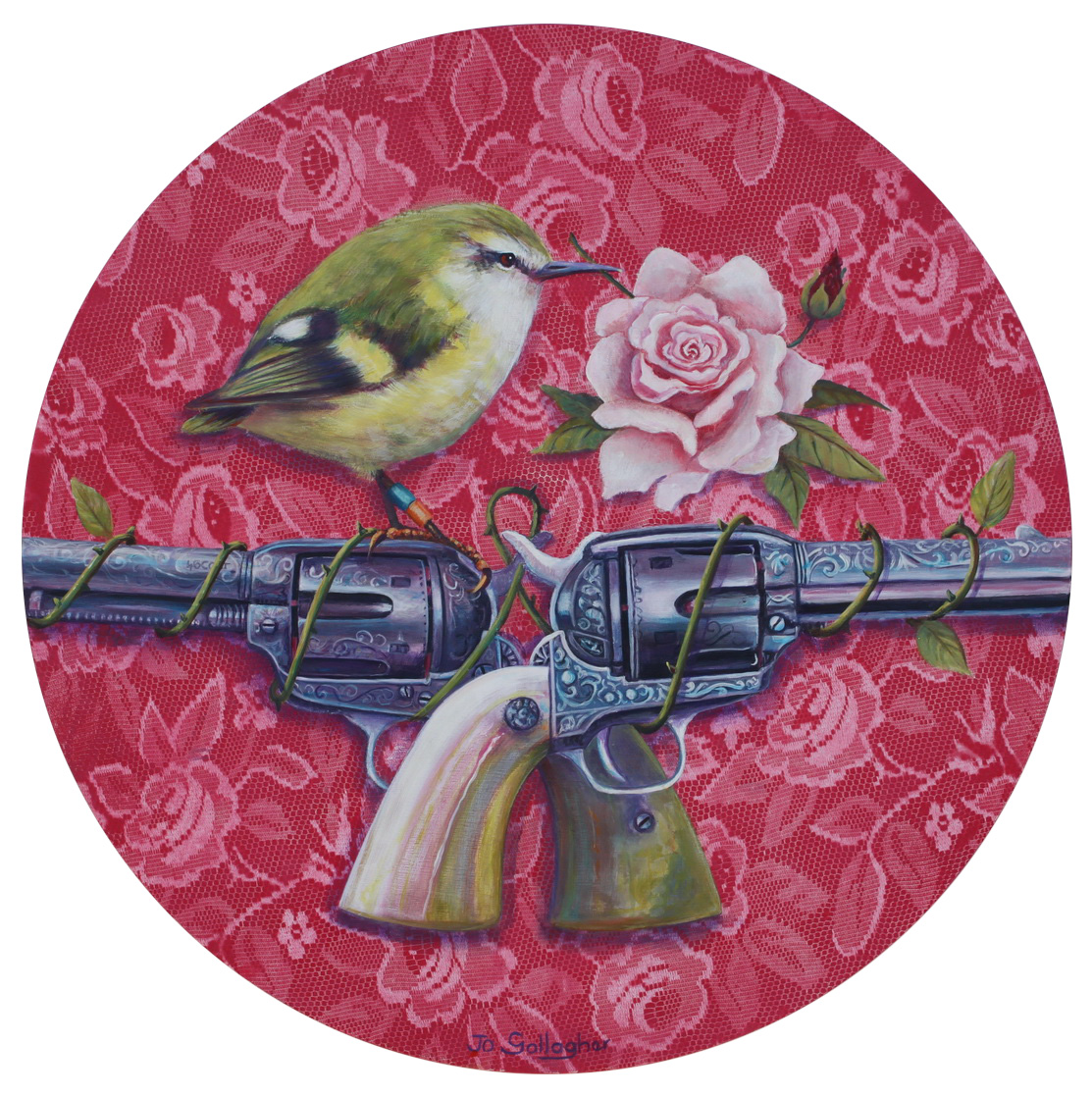 The Rifleman...guns n roses  500mm acrylic on plywood framed board SOLD