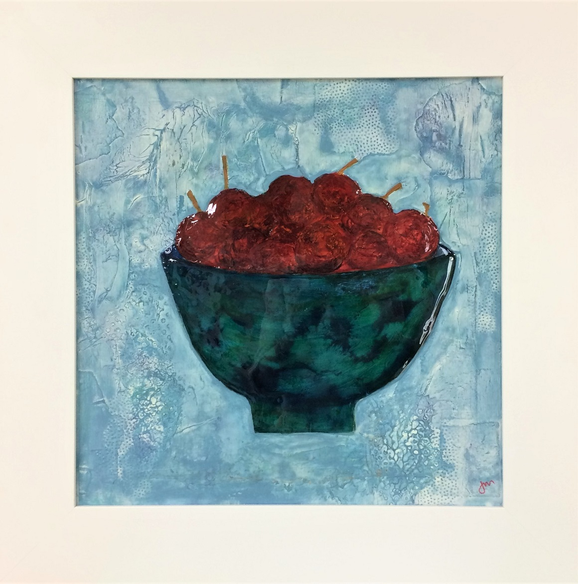 A Bowl of Plums Mixed media on board Framed 685mm x 685mm