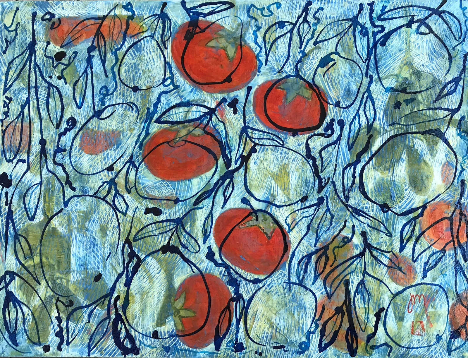 Persimmons Mixed media on Panel Board 460mmH x 610mm W 680.00
