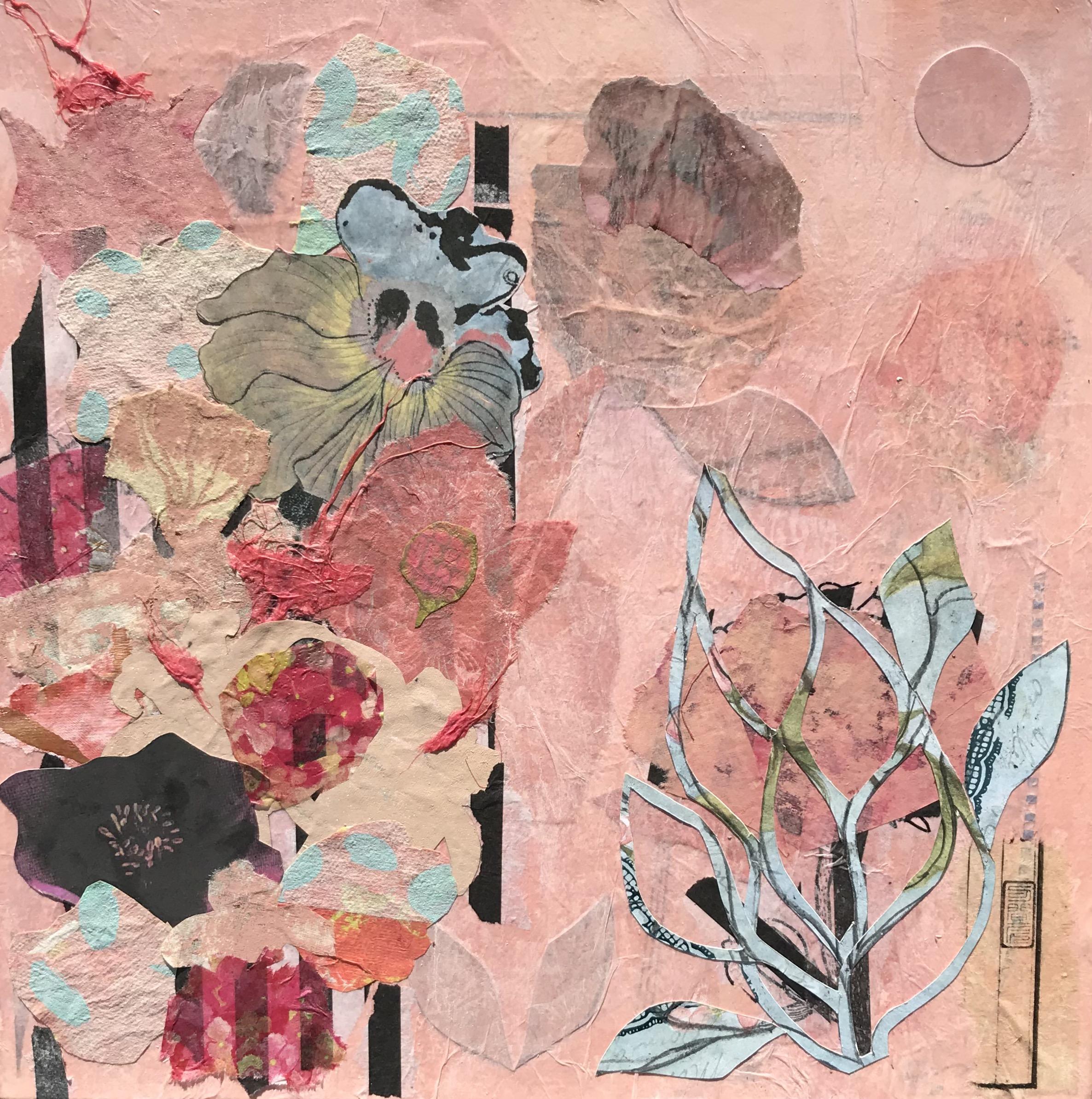 A Crush On Pink Collage Framed in natural cradle frame 400mm x 400mm 350.00